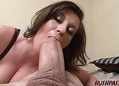 Amazing buxom blonde Sara Stone shows her mature body and cock sucking skills