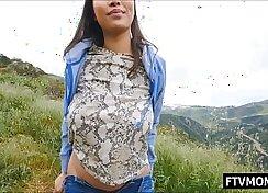 Asian big tits milf fucks in public