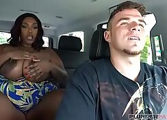 Black BBW Agrees to fuck and suck a white guy