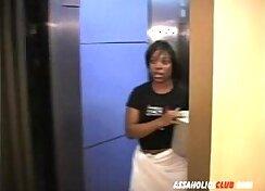 Beautiful Ebony chick teasing real estate agent