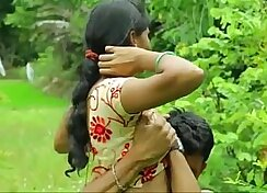 adorable indian teen tugs outdoors