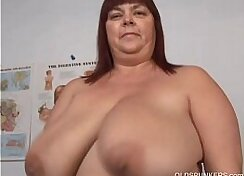 Chubby mature gets her busty pussy toyed and anally fucked