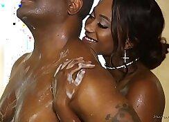 Big breasted ebony whore masturbates large slit on massage table and gets pounded hard