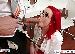 Awesome redhead babe in the office