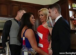 Couple Fucks at Mansion group and strangers go to street orgy