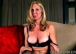 Naughty old spunker loves to talk dirty and play with her juicy pussy