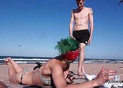 Amateur sluts getting fucked on a beach