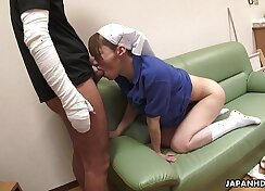 Asian chick fucked by daddy and doctor, doggie style