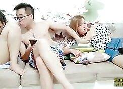 Chinese teen threesome bang