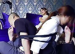 Busty femdom busy with domination and mating male couple