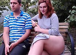 Amateur - Girl with Big Tits Sexy Outdoors in Public