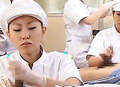 Admirable Japanese nurse sucks hairy monster cock missionary