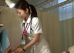 Auspicious Japanese sweety in oversized tights gets her yoni doctor