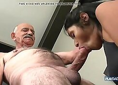 Charming chick Matty Dyessy fucks the hell out of dudes big cock with two grandpas