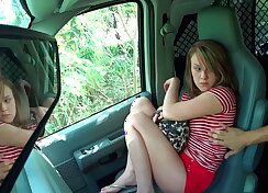 Tiny legal age teenager resists forceful sex in car