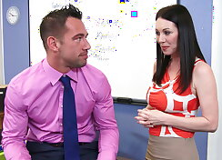 Busty teacher receives the stroke from behind