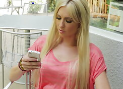 Blonde babe thinking about making true love