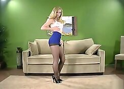 Blonde Milf in pantyhose gets ass hole banged