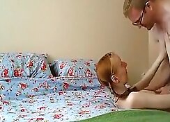 Horny redhead babe gets creampie before get doggy