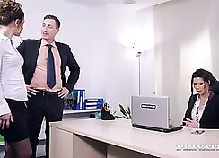 hot chick is penetrating her wet vagina in the office
