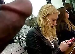 Chondra-surfaced HOT red high heels flashing in public bus